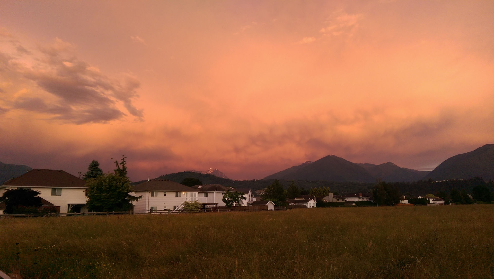 Orange clouds over the mountains