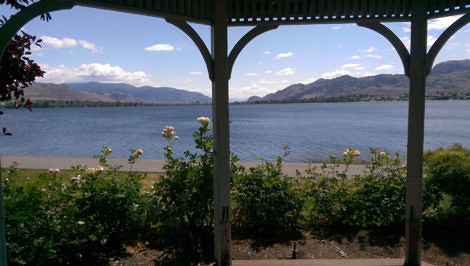 Osoyoos view from gazebo in Pioneer Walkway Park