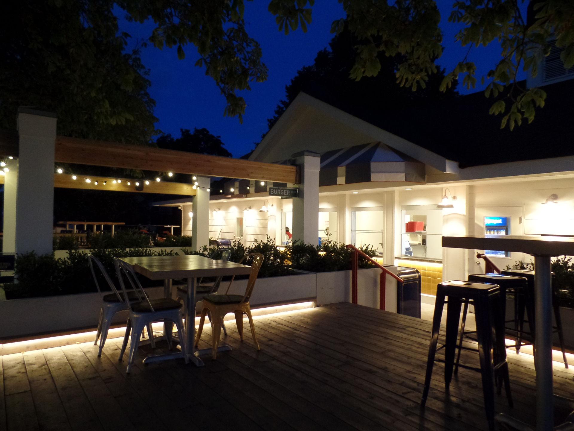 Outdoor Burger Cafe at dusk