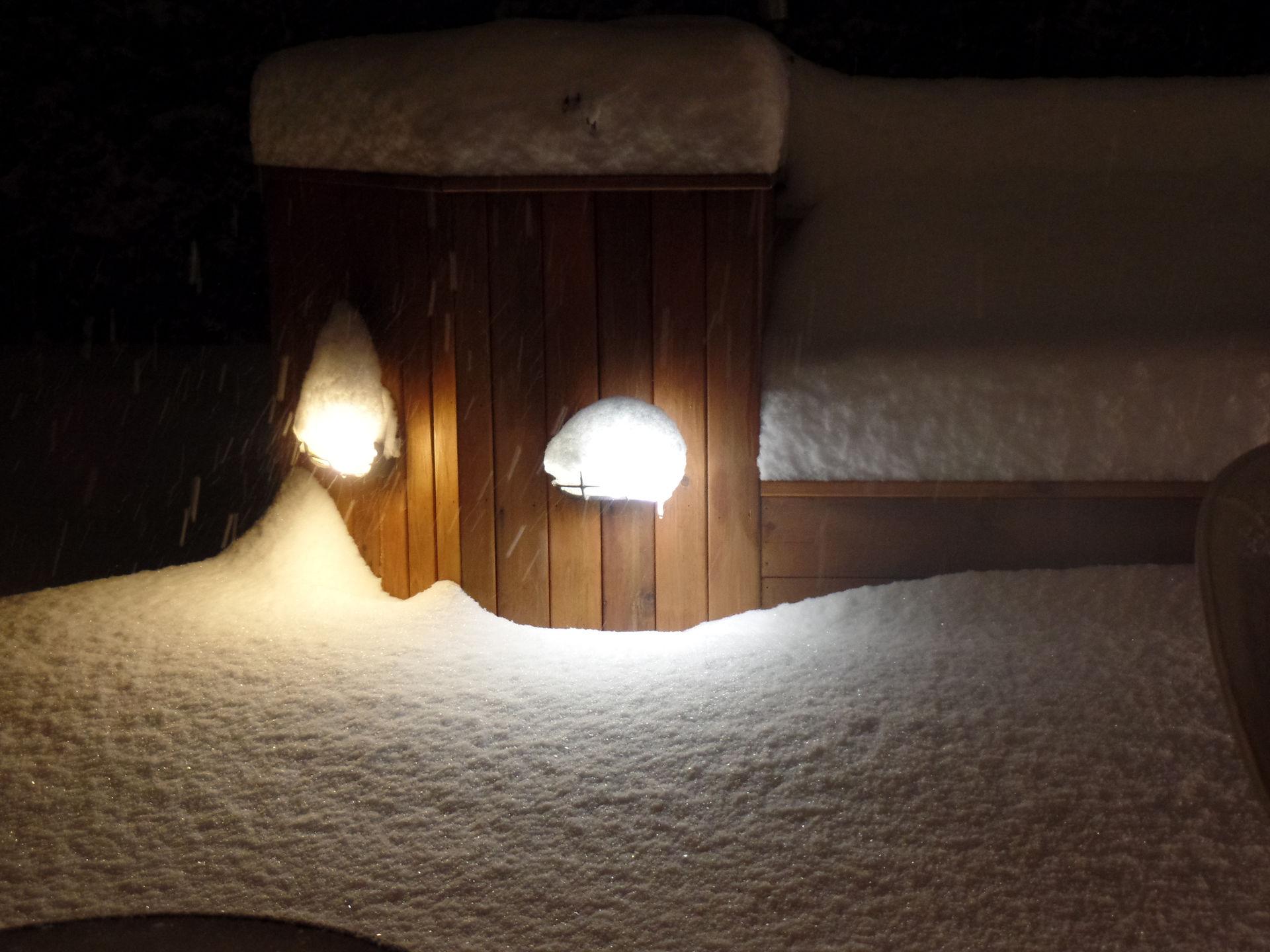 Snow covered cedar deck