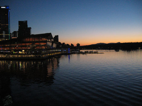 Waterfront Trade and Convention Centre at dusk