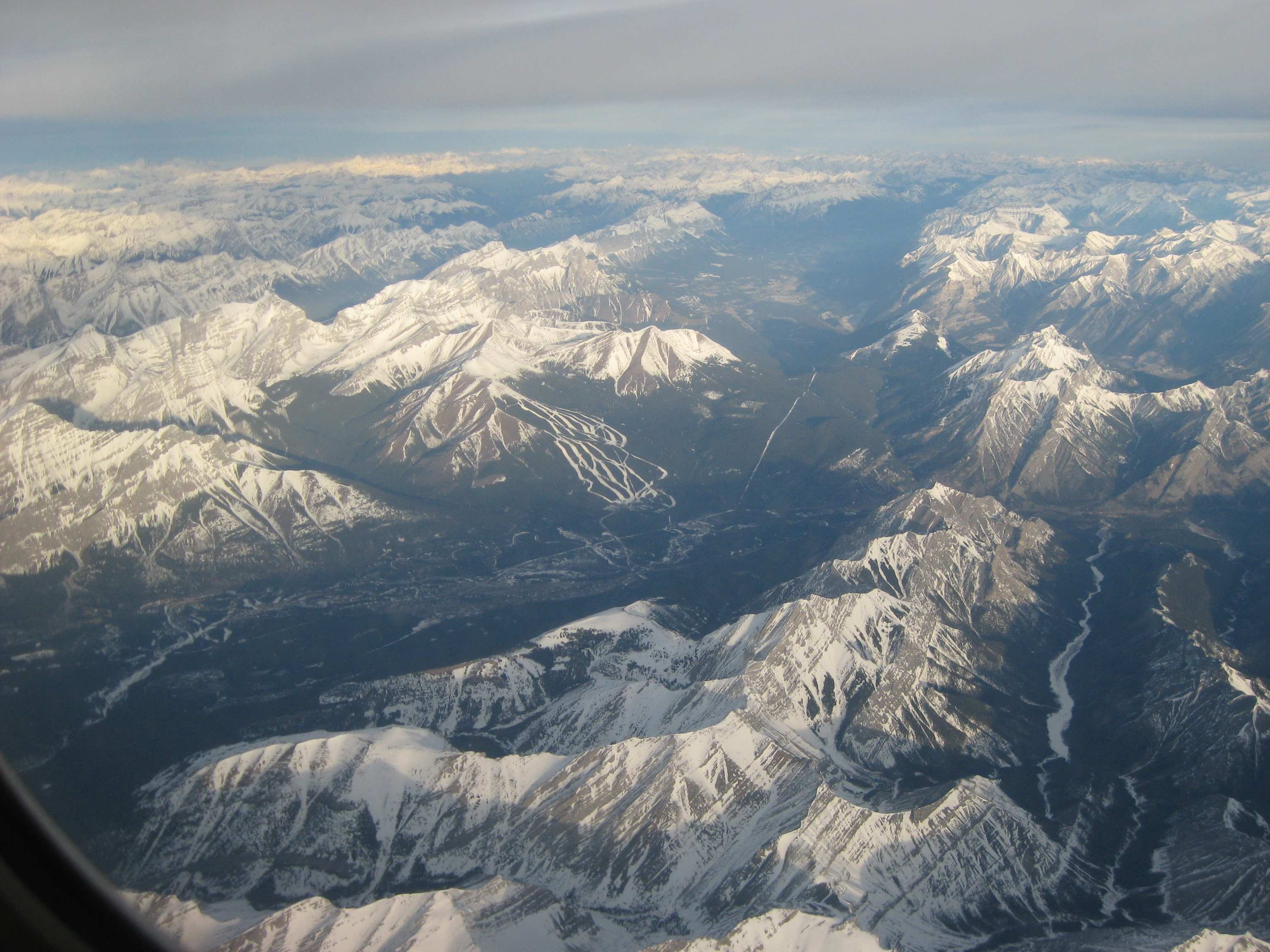 Aerial View of the Canadian Rockies in Winter