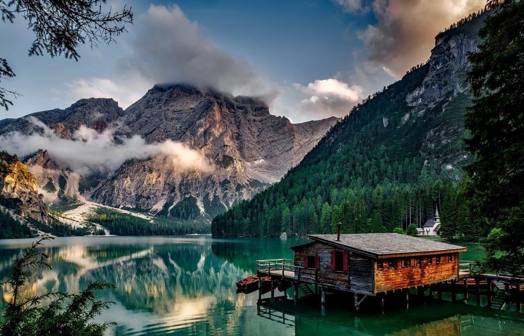 Beautiful Pragser Wildsee Lake in the Dolomite Mountains