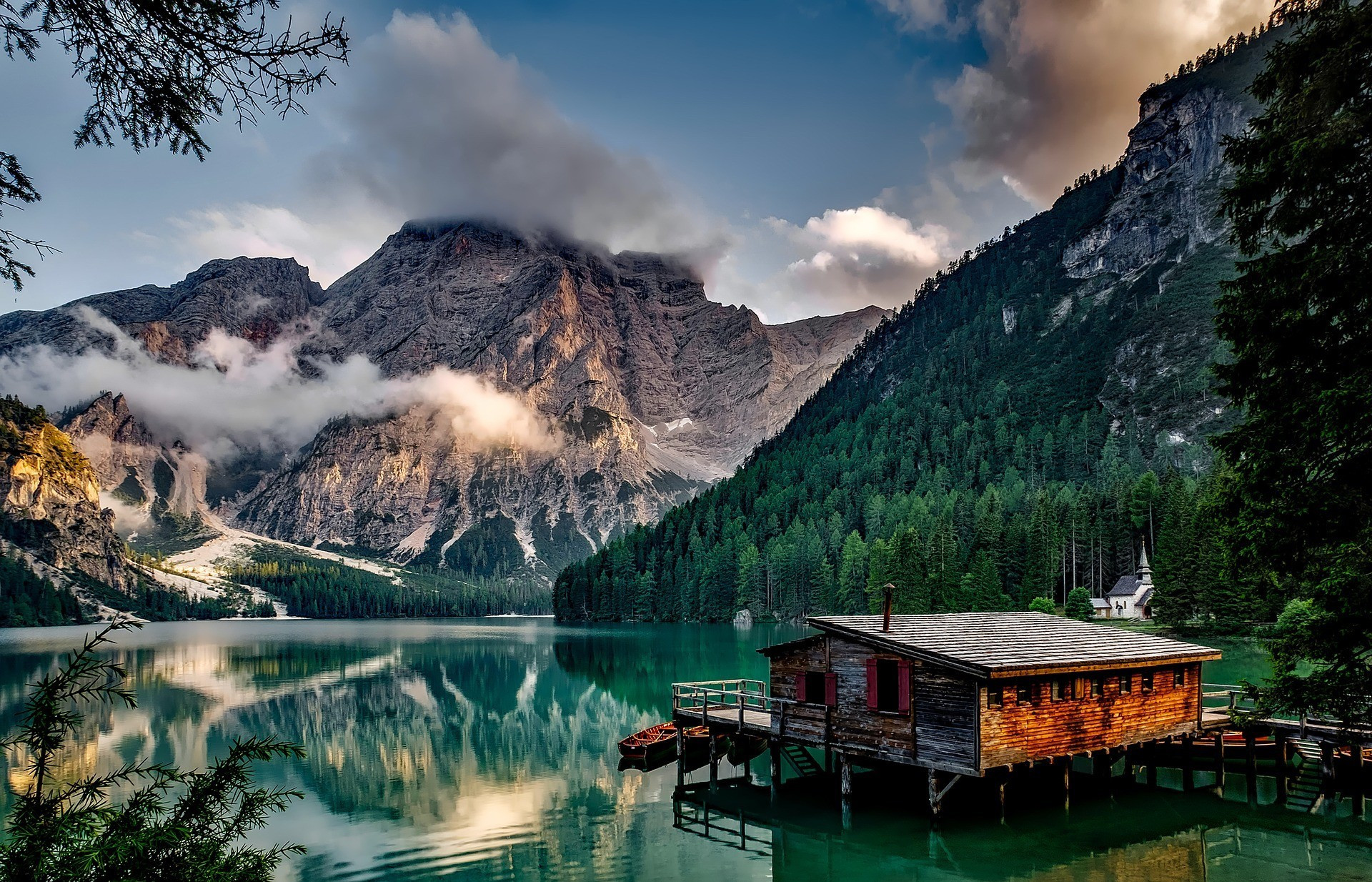 Beautiful Pragser Wildsee Lake in the Dolomite Mountains