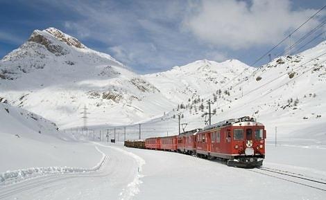 Bernina Mountain Railway in Winter