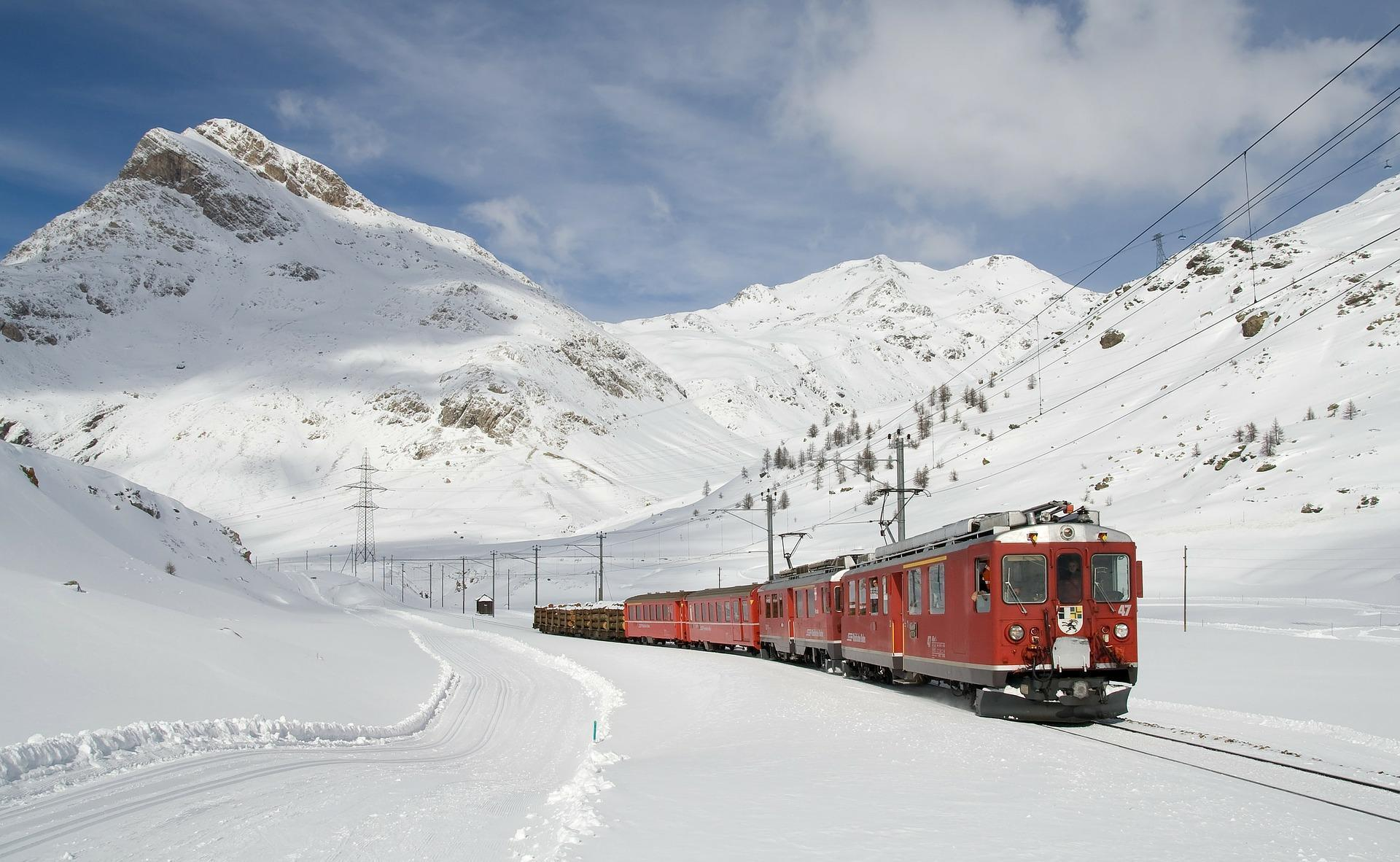 Bernina Mountain Railway in Winter