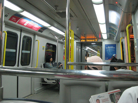 Inside the subway train on the Canada Line