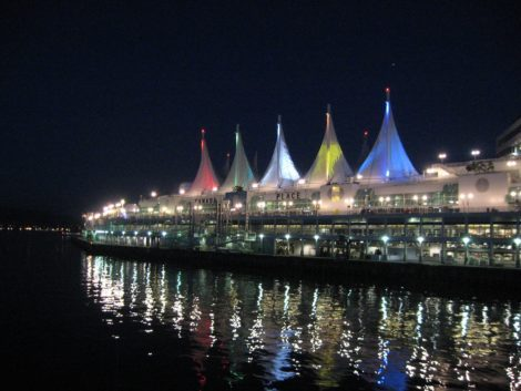 Canada Place in Vancouver illuminated at night