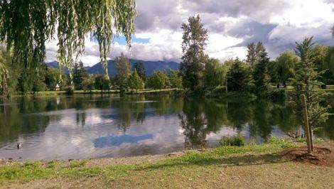 Clearing sky at sardis park pond