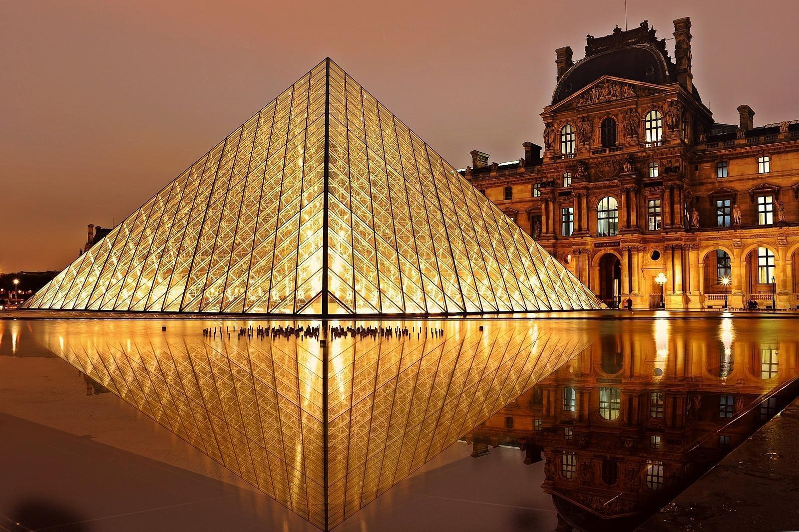 Entrance to the Louvre at Night