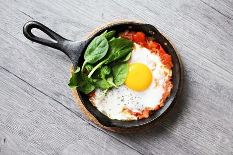 Fried egg and spinach in cast iron skillet