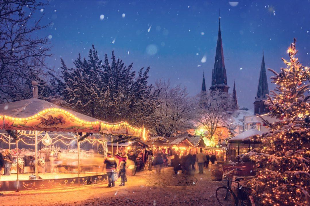 German Christmas Market illuminated at night