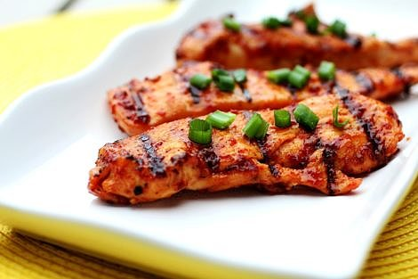 Grilled Chicken on a White Platter