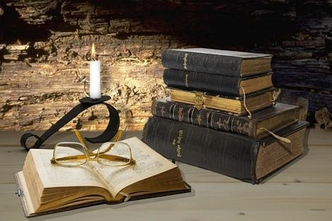 Old Bibles and Hymnals Still Life