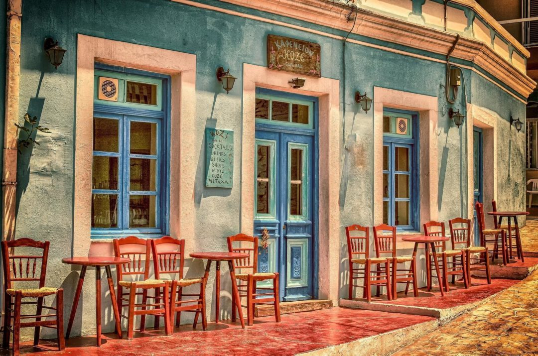 Outdoor Patio at a Karpathos Island Greek Cafe