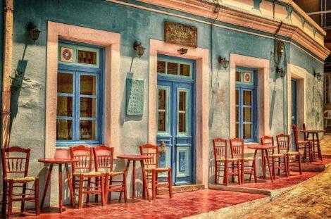 Outdoor Patio at a Karpathos Island Greek Cafe