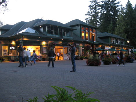 People Enjoying the Evening outside the Visitor Centre at Butchart Gardens