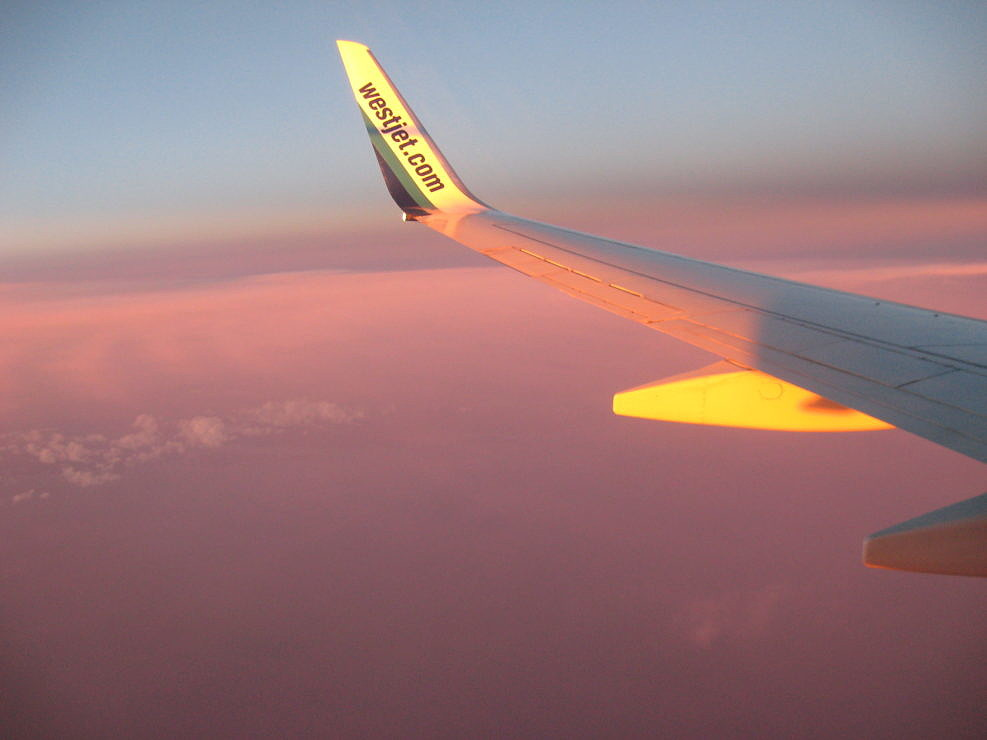 Pink Sunset from a Plane