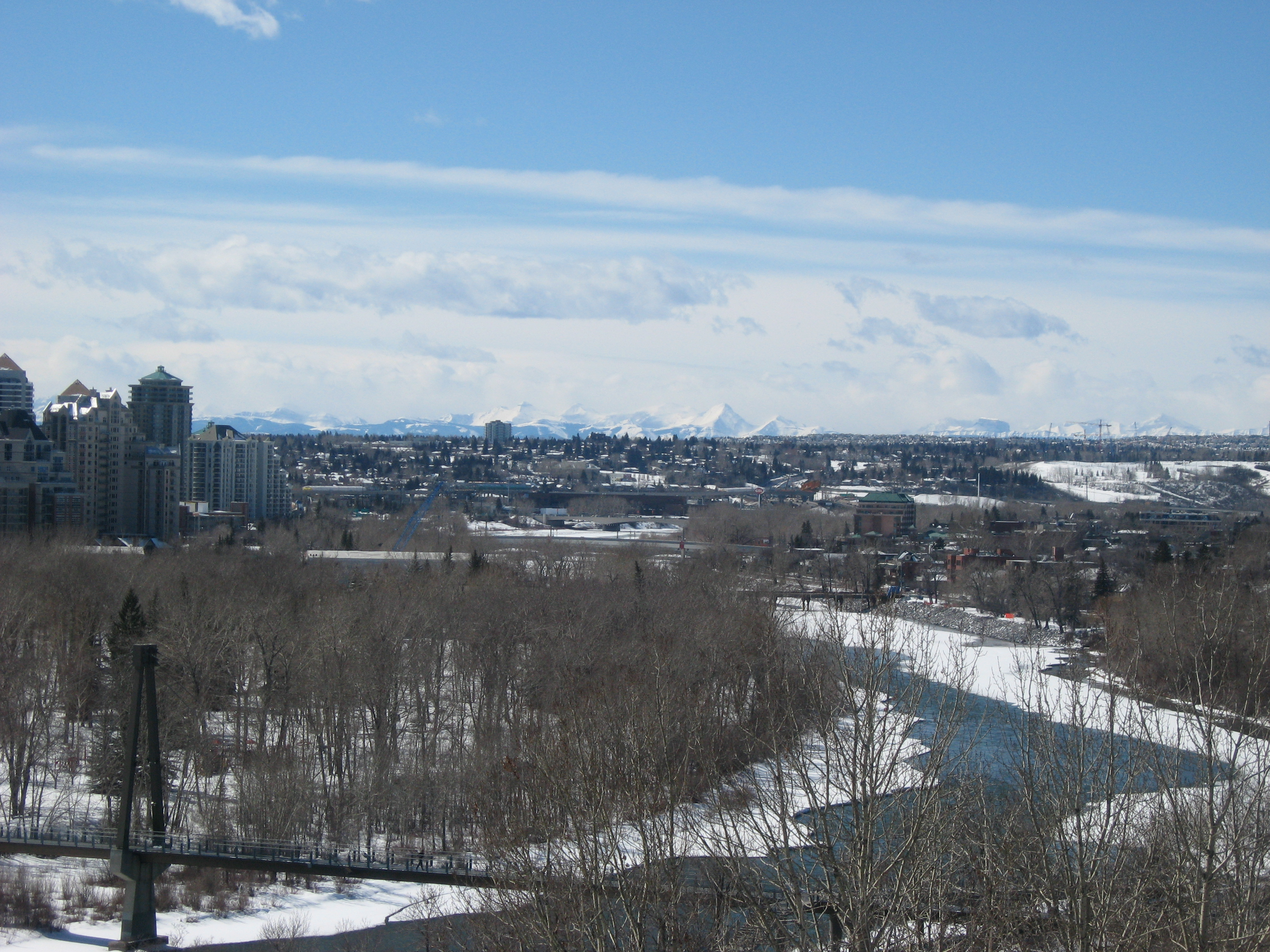 Rocky Mountains from Downtown Calgary in the Winter