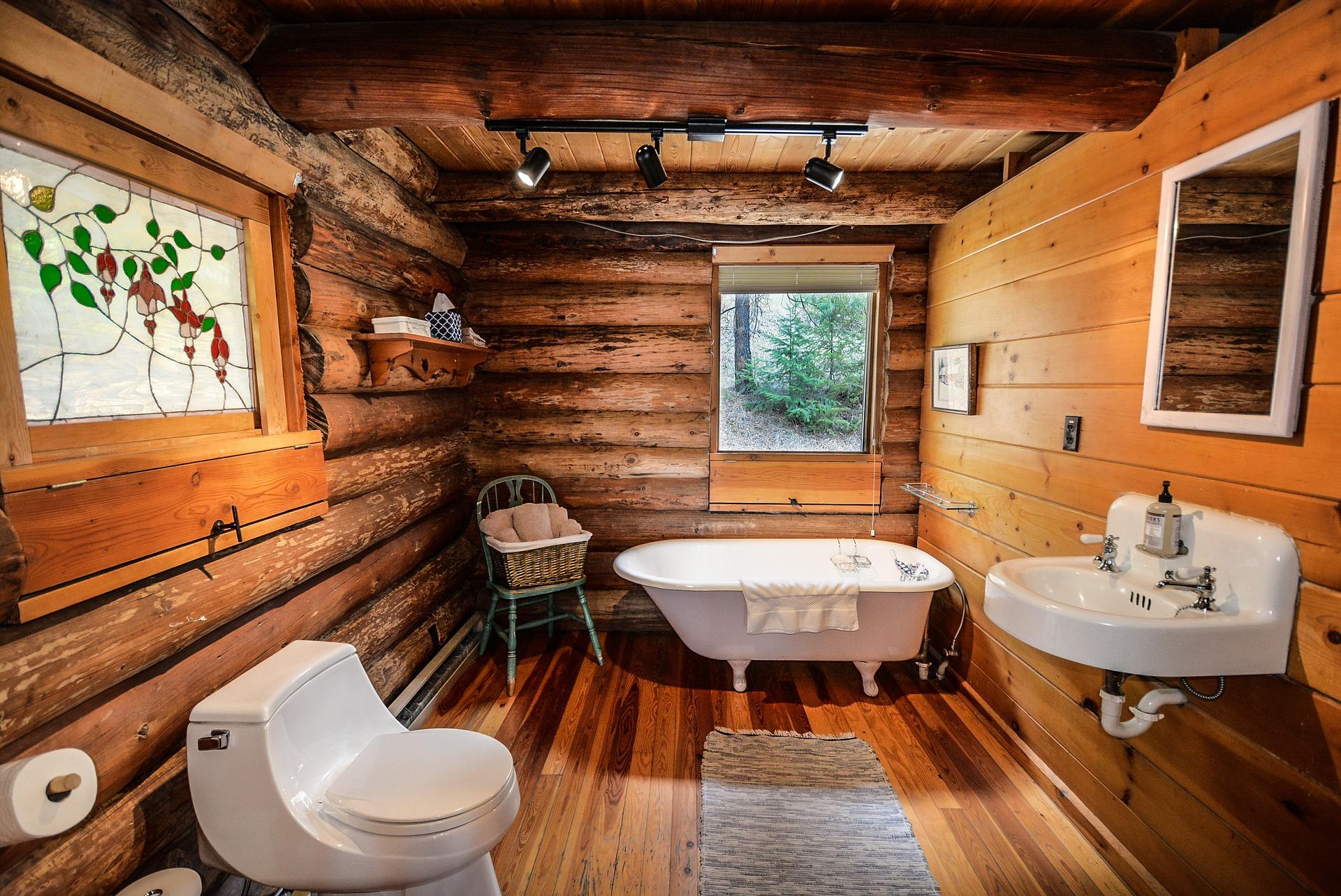 Rustic bathroom in a log cabin