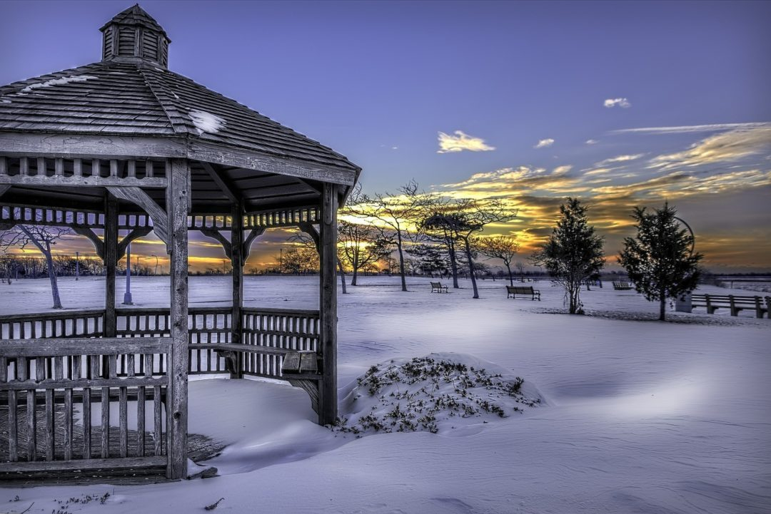 Weathered Gazebo in the Snow
