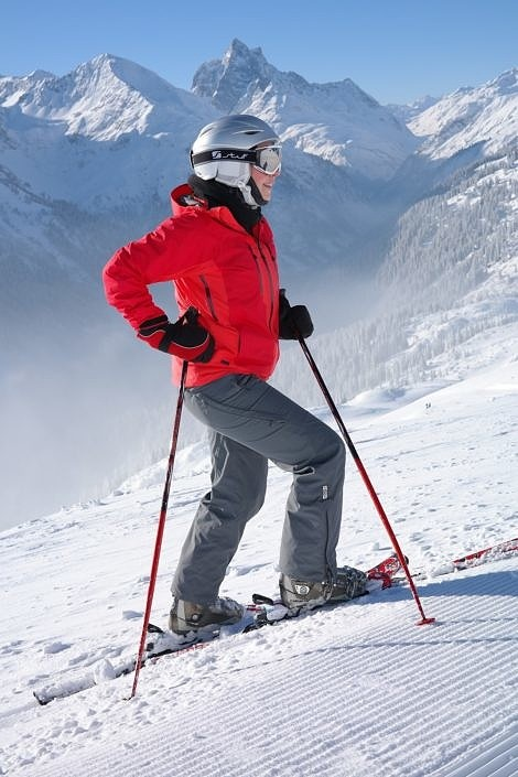 Woman Skiing in the Alpine